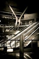 Escalator at the new Hamad International Airport in Doha, Qatar