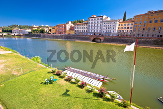 Florence Arno river landscape and architecture view