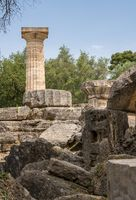 Collapsed Temple of Zeus at the site of the first Olympics at Olympia in Greece