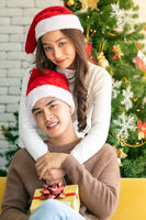 Couple christmas celebration embracing