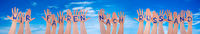 Hands With WM Russland Means Russia 2018, Blue Sky