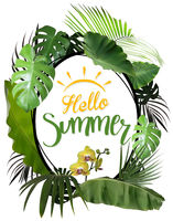 Hello Summer with Oval Frame and Tropical Plants