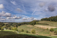View from Schlossrued towards Schöftland and Basel, Aargau, Switzerland