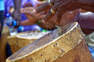 Brazilian rustic ethnic drums players in religious festival