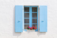 Red Geraniums with blue blinds
