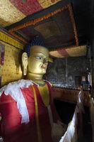 Golden statue of Shakyamuni Buddha at Shey Palace Monastery, Ladakh, India