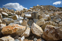 broken marble blocks on hill