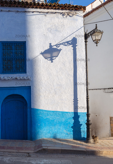 Lantern and its shadow on blue street