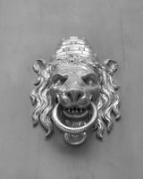 Lion shaped door knocker in Barcelona.