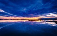 Sunset in in Delta del Ebro natural Park, Tarragona, Catalunya, Spain