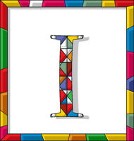 Letter I in stained glass
