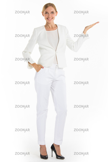 Businesswoman pointing with hand
