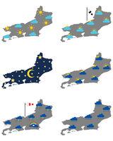 Karten von Rio de Janeiro mit verschiedenen Wettersymbolen - Maps of Rio de Janeiro with various weather symbols