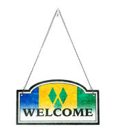 Saint Vincent and the Grenadines welcomes you! Old metal sign isolated