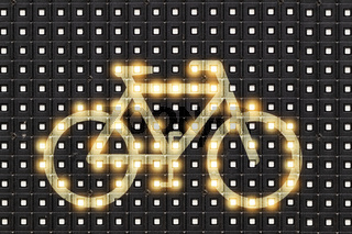 Dots matrix led diplay panel with illuminated symbol of bicycle
