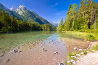Hintersee lake in Berchtesgaden Alpine landscape view