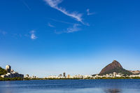 Skyline of Rodrigo de Freitas lagoon at morning