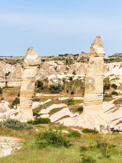 old fairy chimney rocks in mountain of Goreme Park