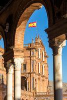 Main building at Plaza de España, Seville, Andalusia, Spain, Europe