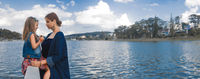 Mother and daughter at Xuan Huong Lake, Dalat, Vietnam. Panorama