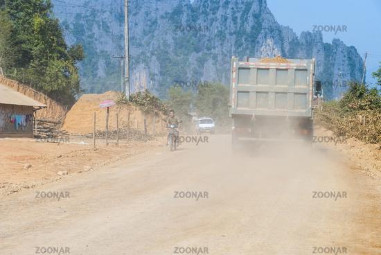 Dirt road thru the village, Laos
