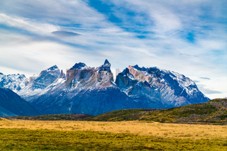 View of the beautiful mountain and large pasture at Torres del Paine National Park