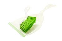 Green set of brush and dustpan, household cleaning utensil