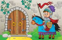Knight on horse by old door theme 1