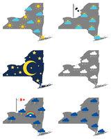 Karten von New York mit verschiedenen Wettersymbolen - Maps of New York with various weather symbols