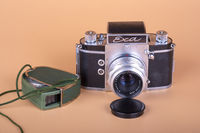 Old German camera EXA. 1961 release and light meter.