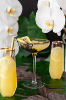 Exotic cocktail with fresh orchids
