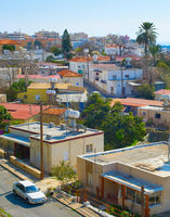 Paphos skyline, car, houses, Cyprus