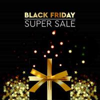 Black Friday Sale. Banner, poster, logo golden color on dark background. Design with realistic black gift box with golden ribbon, vector illustration.