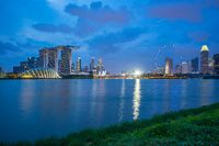 Singapore city skyline view from Marina Barrage in Singapore city