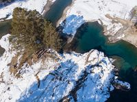 Aerial view of winter blue lakes