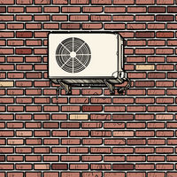 air conditioning on the outside brick wall of the house