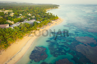 Top view of tropical beach