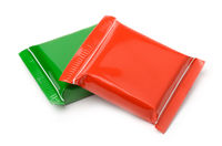 Red and green food plastic bags