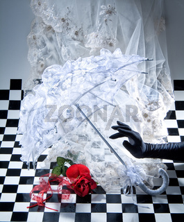 Decoration On Checkered Background