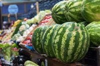Ripe watermelons in farmer market