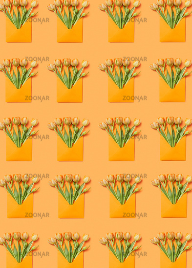 Greeting envelopes pattern with tulip on a yellow background.