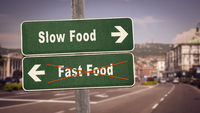 Street Sign Slow versus Fast Food
