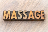 massage -word asbtract in wood type
