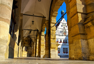 Rothenburg Rathaus Arkaden und Ratstrinkstube - Rothenburg town hall arcades and Councillors Tavern