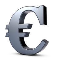 eurosymbol aus metall auf weißem hintergrund - 3d rendering