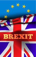 Brexit, the exit of Great Britain from the European Union. Vector illustration with flags of UK and EU