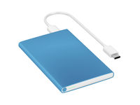 Blue power bank with usb-c cable