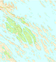 Imaginary topographic map of territory with rivers, lakes, forests and roads