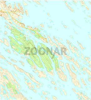 Imaginäre topografische Karte des Territoriums mit Flüssen, Seen, Wäldern und Straßen