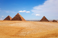 Sunny day in Giza desert, view on the Pyramids